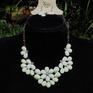 Boho Mint Green Flower Statement Necklace Set